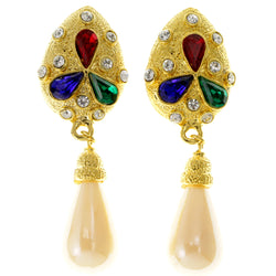 Colorful & Gold-Tone Colored Metal Clip-On-Earrings With Crystal Accents #LQC38