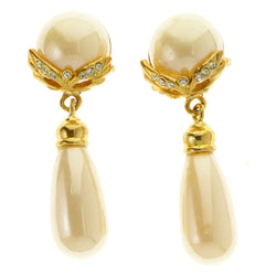 White & Gold-Tone Colored Metal Clip-On-Earrings With Faceted Accents #LQC467