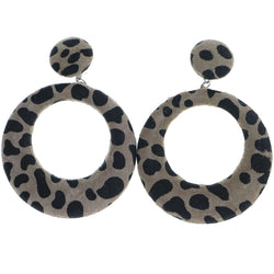 Mi Amore Cow Print Clip-On-Earrings Brown/Black