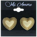Mi Amore Heart Clip-On-Earrings Gold-Tone/White
