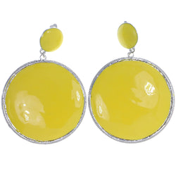 Mi Amore Clip-On-Earrings Silver-Tone/Yellow