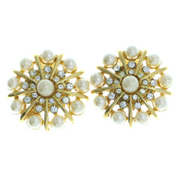 Mi Amore Clip-On-Earrings Gold-Tone/White