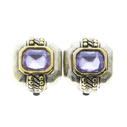 Mi Amore Clip-On-Earrings Silver-Tone/Purple