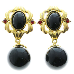 Mi Amore Red Crystal Accents Clip-On-Earrings Gold-Tone/Black
