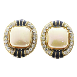 Mi Amore Crystal Accents Clip-On-Earrings Gold-Tone/Black