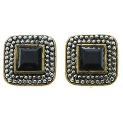 Mi Amore Black Acrylic Faceted Accent Clip-On-Earrings Gold-Tone/Silver-Tone