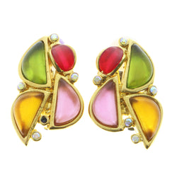 Mi Amore Clip-On-Earrings Gold-Tone/Multicolor