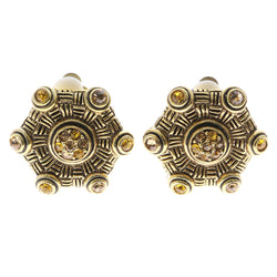 Mi Amore Yellow Crystal Accents Clip-On-Earrings Gold-Tone