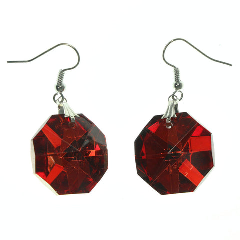 Metal Dangle-Earrings With Crystal Accents Red & Silver-Tone