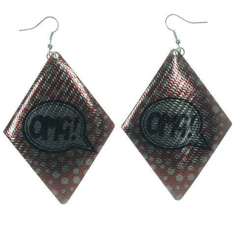 Red & Silver-Tone Colored Metal Dangle-Earrings