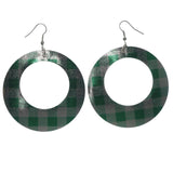 Metal Dangle-Earrings Silver-Tone & Green
