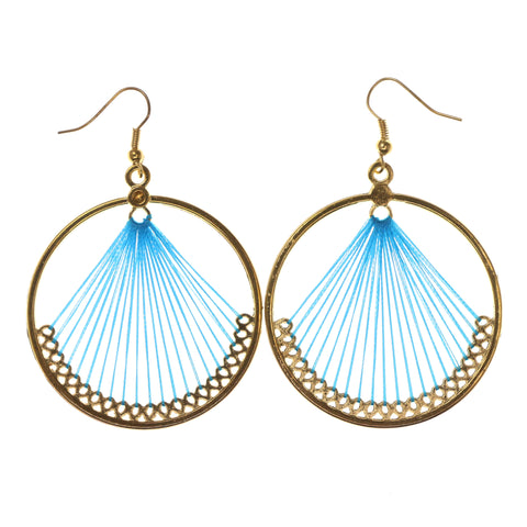 Blue & Gold-Tone Colored Metal Dangle-Earrings #LQE1602