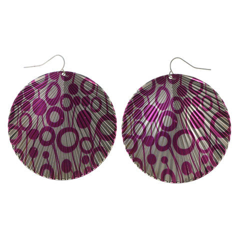 Pink & Silver-Tone Colored Metal Dangle-Earrings #LQE1611