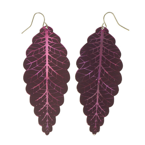 Leaf Dangle-Earrings Purple Color #LQE1637