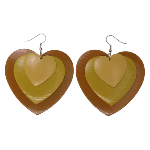 Heart Layered Dangle-Earrings Yellow Color #LQE1638