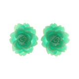 Flower Stud-Earrings Green Color #LQE1676