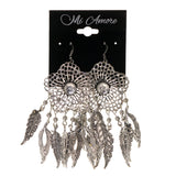 Flower Leaf Dangle-Earrings Silver-Tone Color #LQE1683