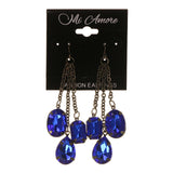 Blue & Silver-Tone Colored Metal Dangle-Earrings With Crystal Accents #LQE1685