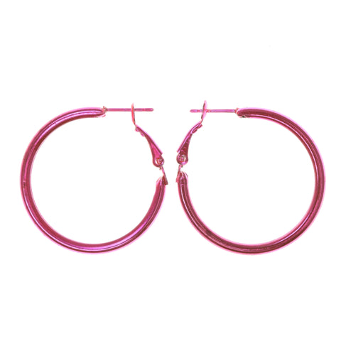 Neon Hoop-Earrings Pink Color #LQE1702