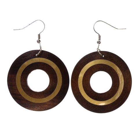 Brown & Gold-Tone Colored Wooden Dangle-Earrings #LQE1709