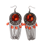 Red & Silver-Tone Colored Metal Dangle-Earrings With Crystal Accents #LQE1771