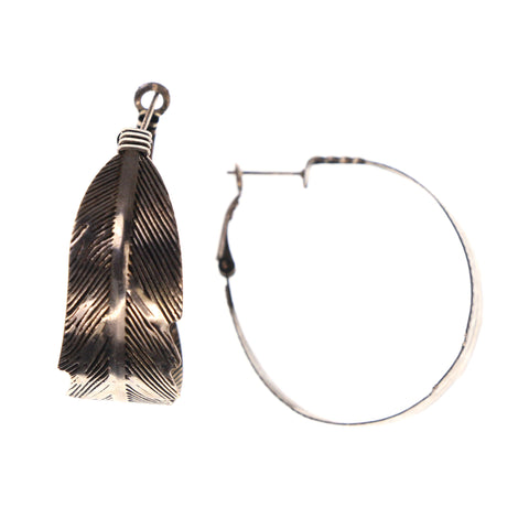 Feather Hoop-Earrings Silver-Tone Color #LQE1777