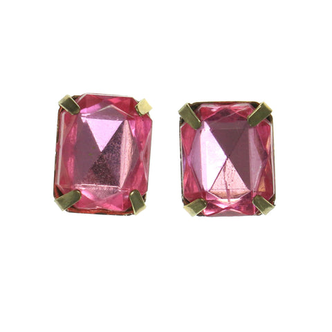 Pink & Gold-Tone Colored Metal Stud-Earrings With Crystal Accents #LQE1785