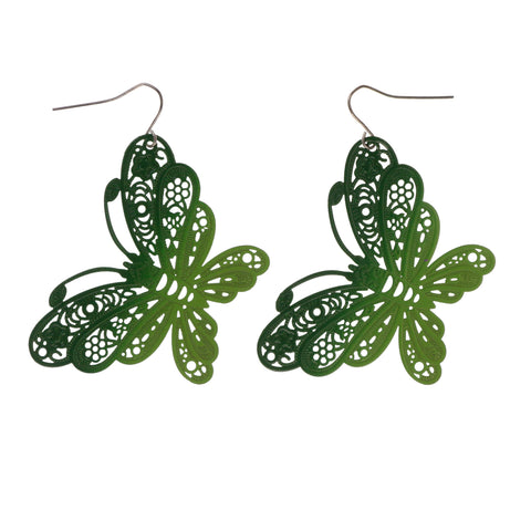 Ombre Butterfly Dangle-Earrings Green Color #LQE1815