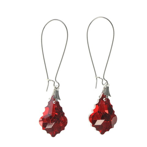 Red & Silver-Tone Colored Metal Dangle-Earrings #LQE1823