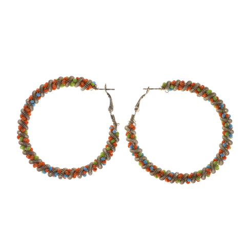 Orange & Silver-Tone Colored Metal Hoop-Earrings With Bead Accents #LQE1839