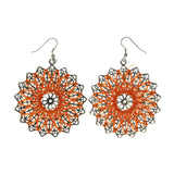 Orange & Silver-Tone Colored Metal Dangle-Earrings #LQE1854