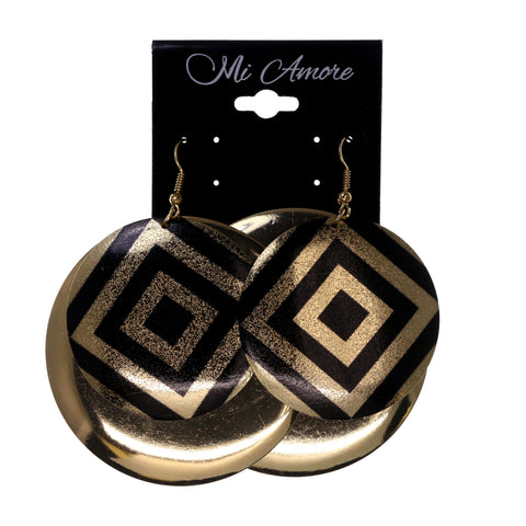 Gold-Tone & Black Colored Metal Dangle-Earrings #LQE1862