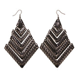 Silver-Tone Metal Dangle-Earrings #LQE1869