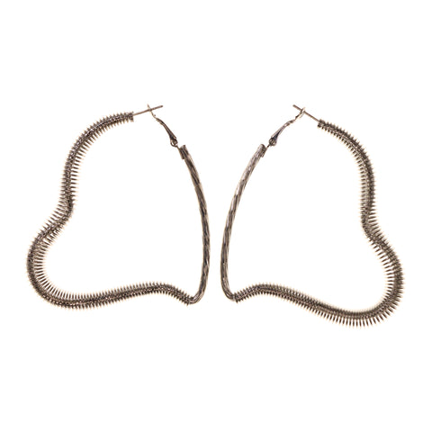 Heart Hoop-Earrings Silver-Tone Color #LQE1870