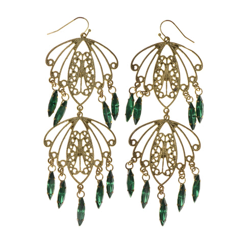 Gold-Tone & Green Colored Metal Dangle-Earrings With Crystal Accents #LQE1871