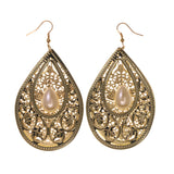 Gold-Tone & White Colored Metal Dangle-Earrings With Bead Accents #LQE1872