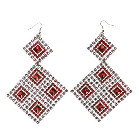 Silver-Tone & Red Colored Acrylic Dangle-Earrings #LQE1879