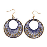 Blue & Gold-Tone Colored Fabric Dangle-Earrings With Bead Accents #LQE1901