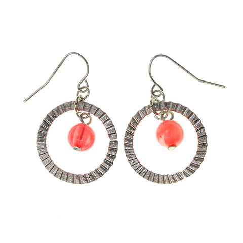 Silver-Tone & Pink Colored Metal Dangle-Earrings With Bead Accents #LQE1962