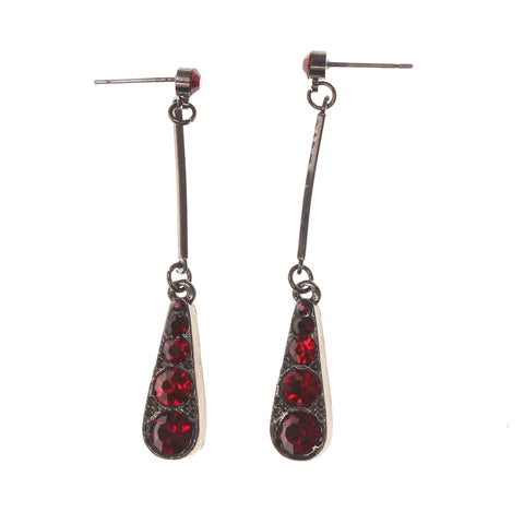 Red & Silver-Tone Metal -Dangle-Earrings Crystal Accents #LQE1972