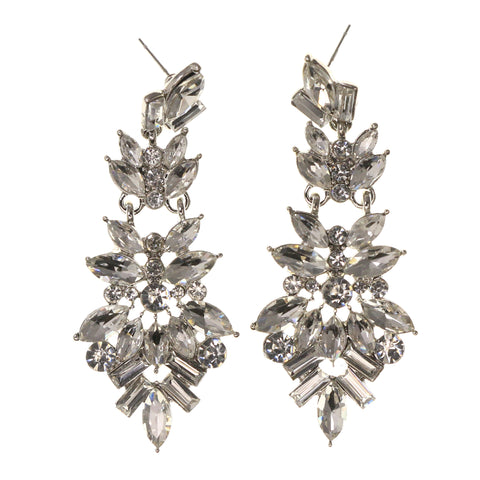 Silver-Tone Metal Drop-Dangle-Earrings With Crystal Accents #LQE1973