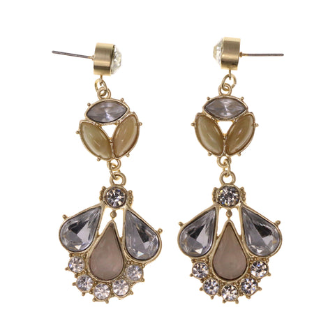 Gold-Tone & Silver-Tone Metal Dangle-Earrings Crystal Accents #LQE1978