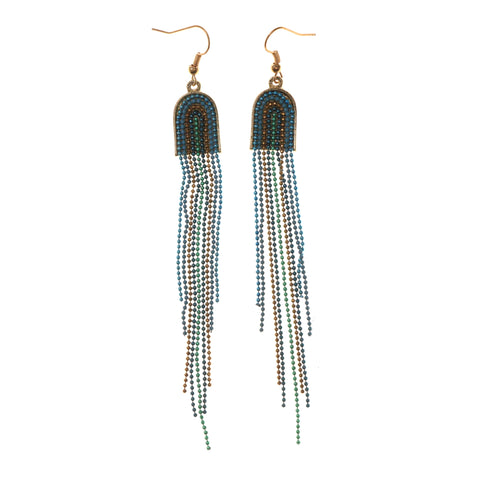Blue & Gold-Tone Colored Metal Dangle-Earrings With Bead Accents #LQE1989