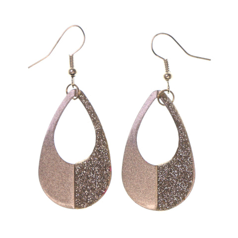 Glitter Sparkle Dangle-Earrings Silver-Tone Color #LQE2004