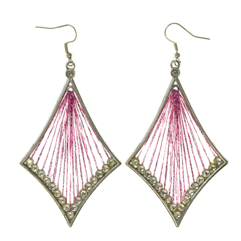 Pink & Silver-Tone Colored Fabric Dangle-Earrings #LQE2012