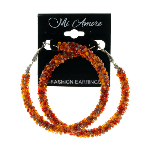 Orange & Red Colored Metal Hoop-Earrings With Bead Accents #LQE2022