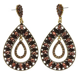 Brown & Gold-Tone Metal -Dangle-Earrings Crystal Accents #LQE2038