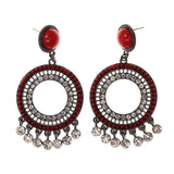 Red & Silver-Tone Metal -Dangle-Earrings Crystal Accents #LQE2044