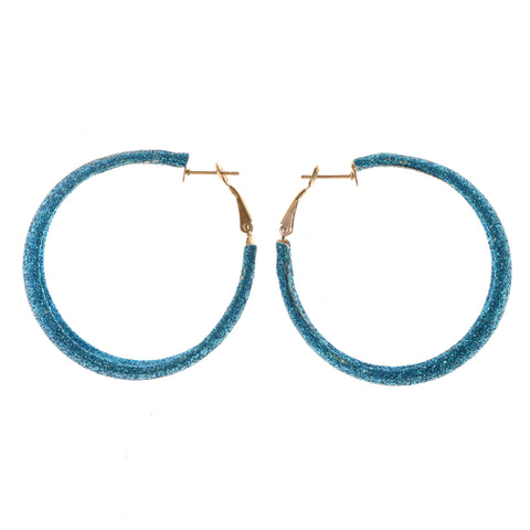 Glitter Sparkle Hoop-Earrings Blue Color #LQE2054