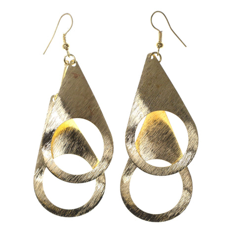 Gold-Tone Metal Dangle-Earrings #LQE2071